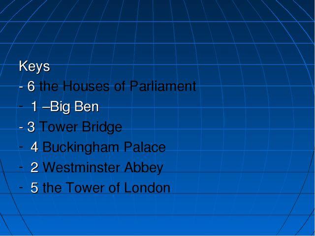 Keys - 6 the Houses of Parliament 1 –Big Ben - 3 Tower Bridge 4 Buckingham Pa...