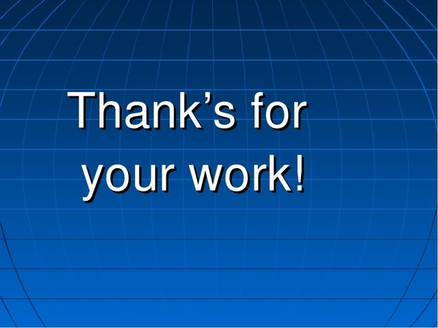 Thank's for your work!