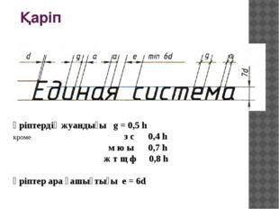Қаріп Әріптердің жуандығы g = 0,5 h кроме з с 0,4 h м ю ы 0,7 h ж т щ ф 0,8 h