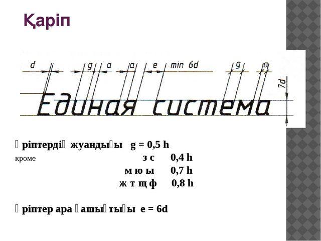 Қаріп Әріптердің жуандығы g = 0,5 h кроме з с 0,4 h м ю ы 0,7 h ж т щ ф 0,8 h...