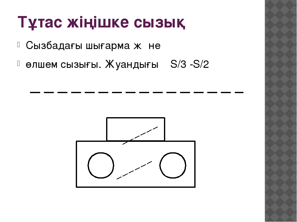 Тұтас жіңішке сызық Сызбадағы шығарма жəне өлшем сызығы. Жуандығы S/3 -S/2