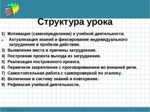 Структура урока 1) Мотивация (самоопределение) к учебной деятельности. Актуал