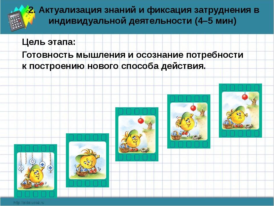 2. Актуализация знаний и фиксация затруднения в индивидуальной деятельности (...