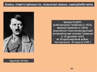Боясь ответственности, покончил жизнь самоубийством фюрер НСДАП, рейхсканцле