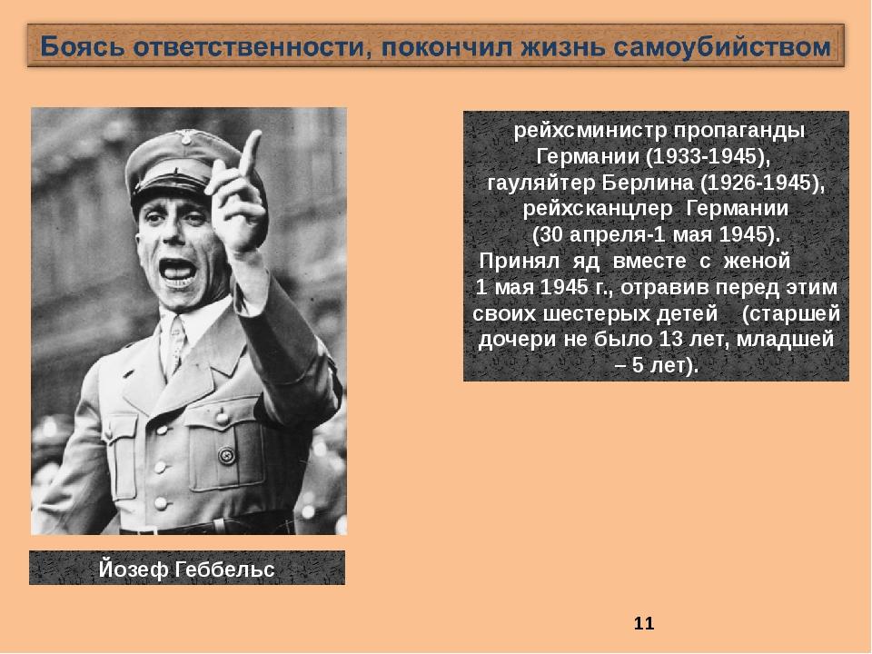 рейхсминистр пропаганды Германии (1933-1945), гауляйтер Берлина (1926-1945),...