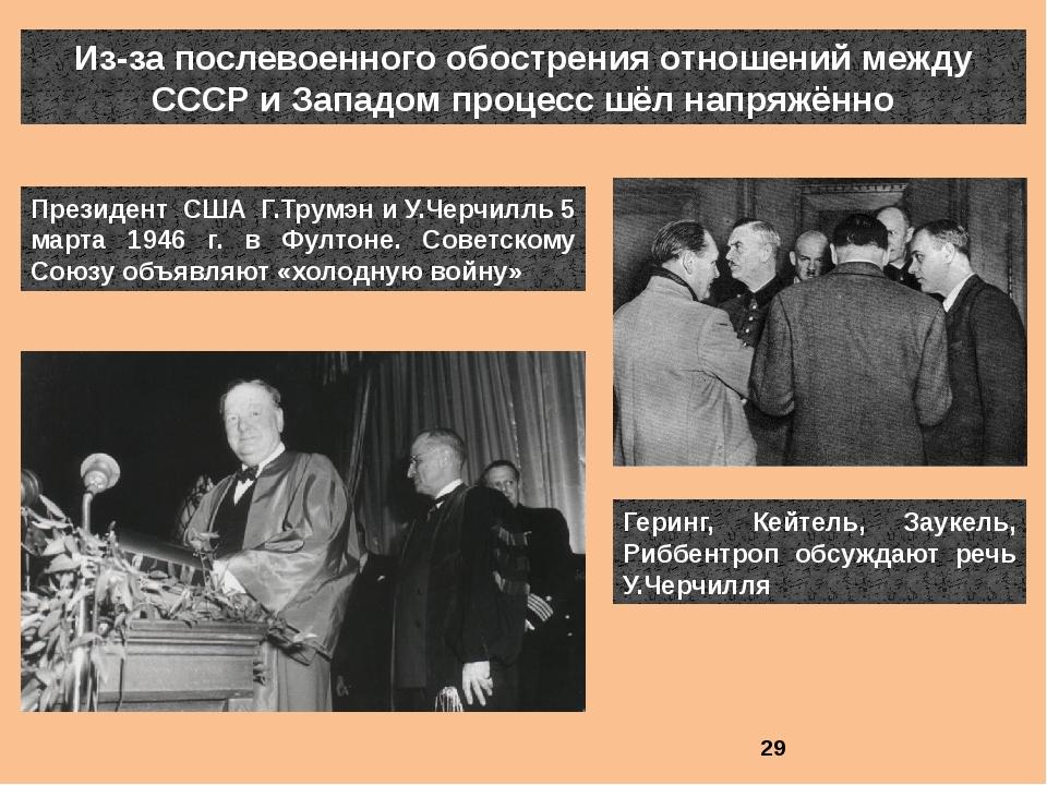 Из-за послевоенного обострения отношений между СССР и Западом процесс шёл нап...