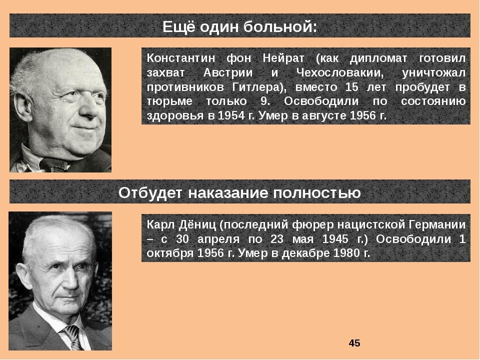 Ещё один больной: Константин фон Нейрат (как дипломат готовил захват Австрии...