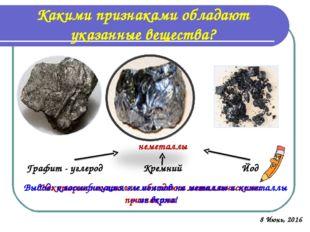 Какими признаками обладают указанные вещества? Графит - углерод Кремний Йод Н