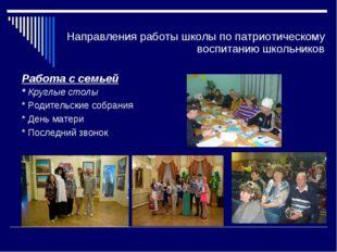 Направления работы школы по патриотическому воспитанию школьников Работа с се
