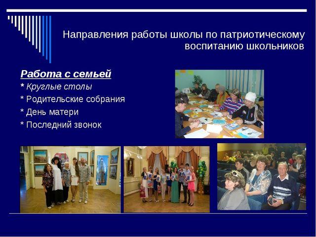 Направления работы школы по патриотическому воспитанию школьников Работа с се...