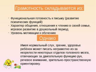 Грамотность складывается из: Функциональная готовность к письму (развитие пси