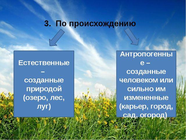 3. По происхождению Естественные – созданные природой (озеро, лес, луг) Антр...