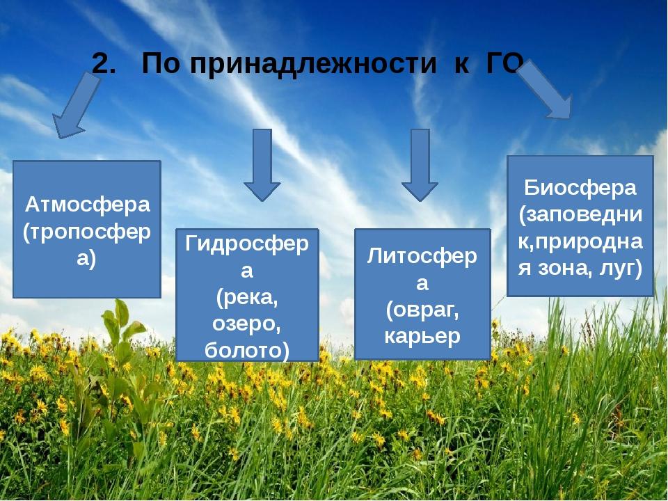 2. По принадлежности к ГО Атмосфера (тропосфера) Гидросфера (река, озеро, бо...