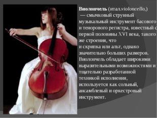 Виолончель(итал.violoncello,)  —смычковый струнный музыкальный инструмент