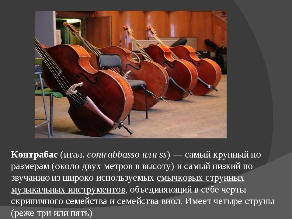 . Контрабас(итал.contrabbasso или ss)— самый крупный по размерам (около дв...
