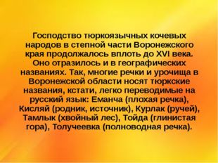 Господство тюркоязычных кочевых народов в степной части Воронежского края про