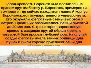 Город-крепость Воронеж был поставлен на правом крутом берегу р. Воронежа, при
