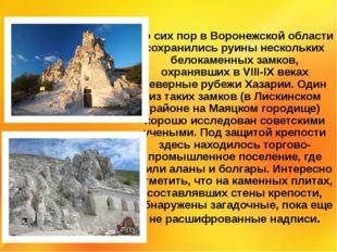 До сих пор в Воронежской области сохранились руины нескольких белокаменных за