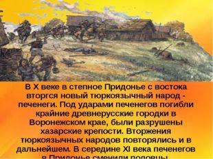 В X веке в степное Придонье с востока вторгся новый тюркоязычный народ - пече