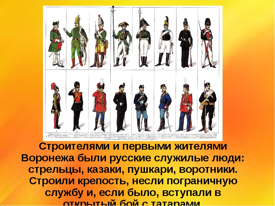 Строителями и первыми жителями Воронежа были русские служилые люди: стрельцы,...