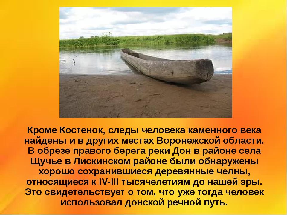 Кроме Костенок, следы человека каменного века найдены и в других местах Ворон...
