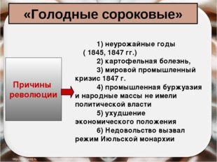 «Голодные сороковые» Причины революции 1) неурожайные годы ( 1845, 1847 гг.)