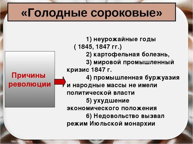 «Голодные сороковые» Причины революции 1) неурожайные годы ( 1845, 1847 гг.)...