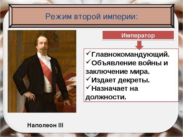 Наполеон III Император Главнокомандующий. Объявление войны и заключение мира....