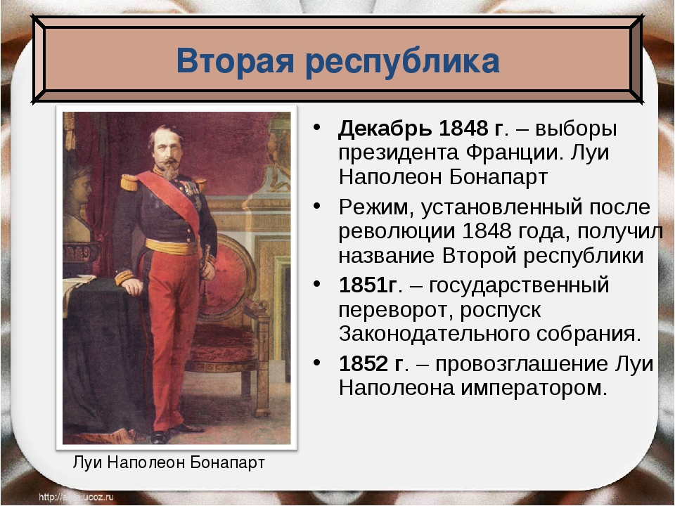 Декабрь 1848 г. – выборы президента Франции. Луи Наполеон Бонапарт Режим, уст...