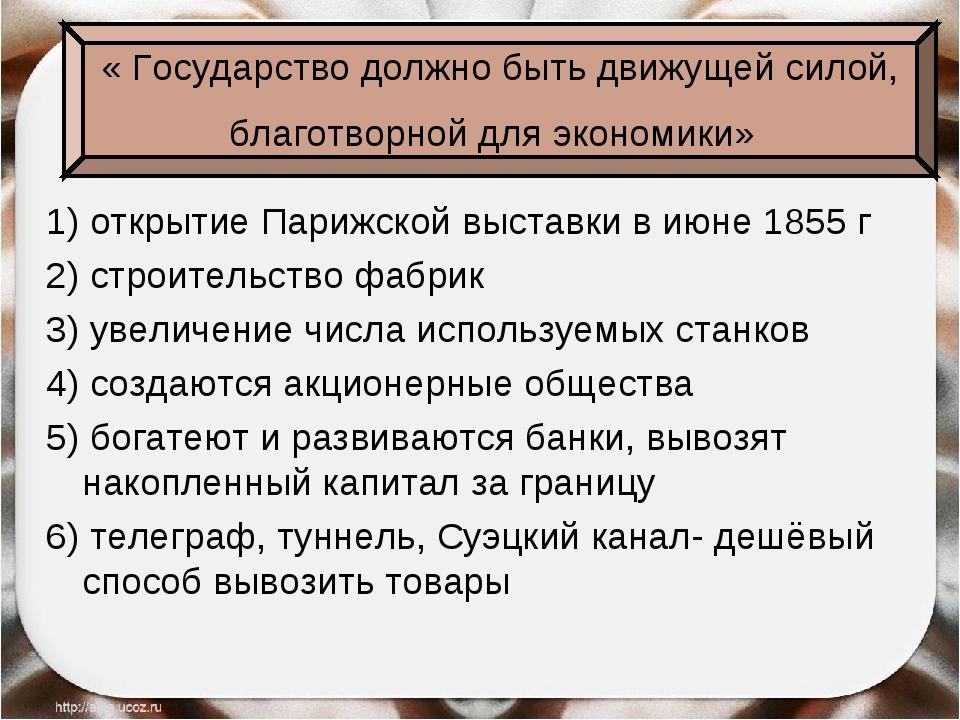 1) открытие Парижской выставки в июне 1855 г 2) строительство фабрик 3) увели...