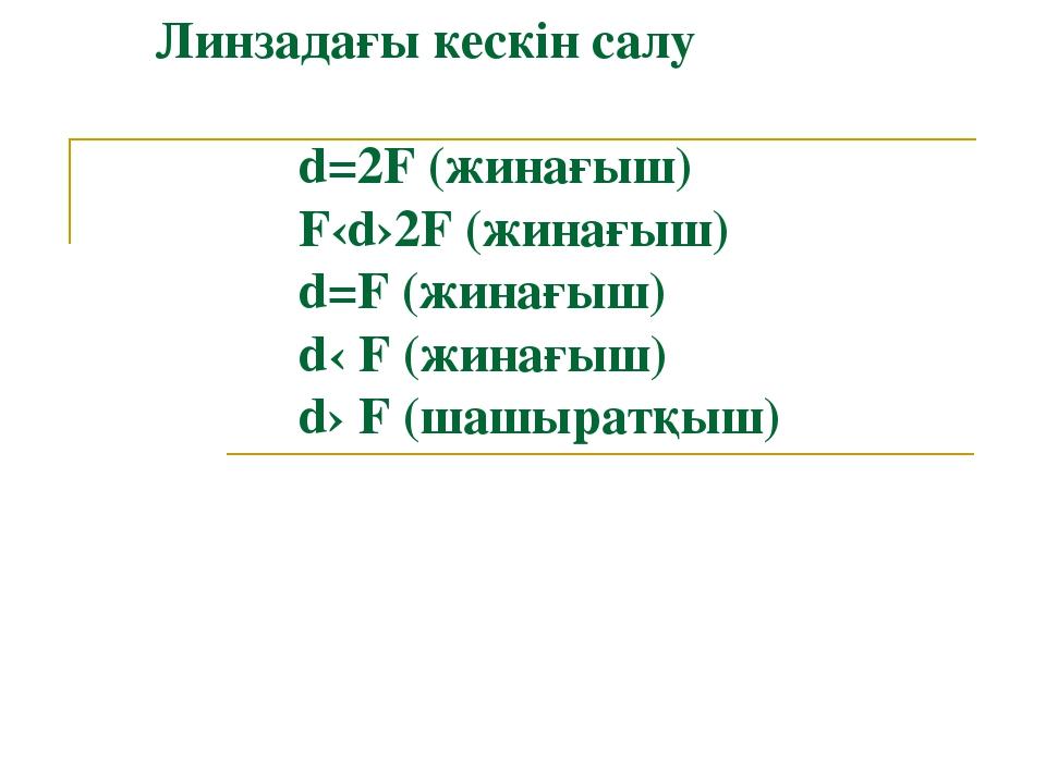 Линзадағы кескін салу d=2F (жинағыш) F‹d›2F (жинағыш) d=F (жинағыш) d‹ F (жи...