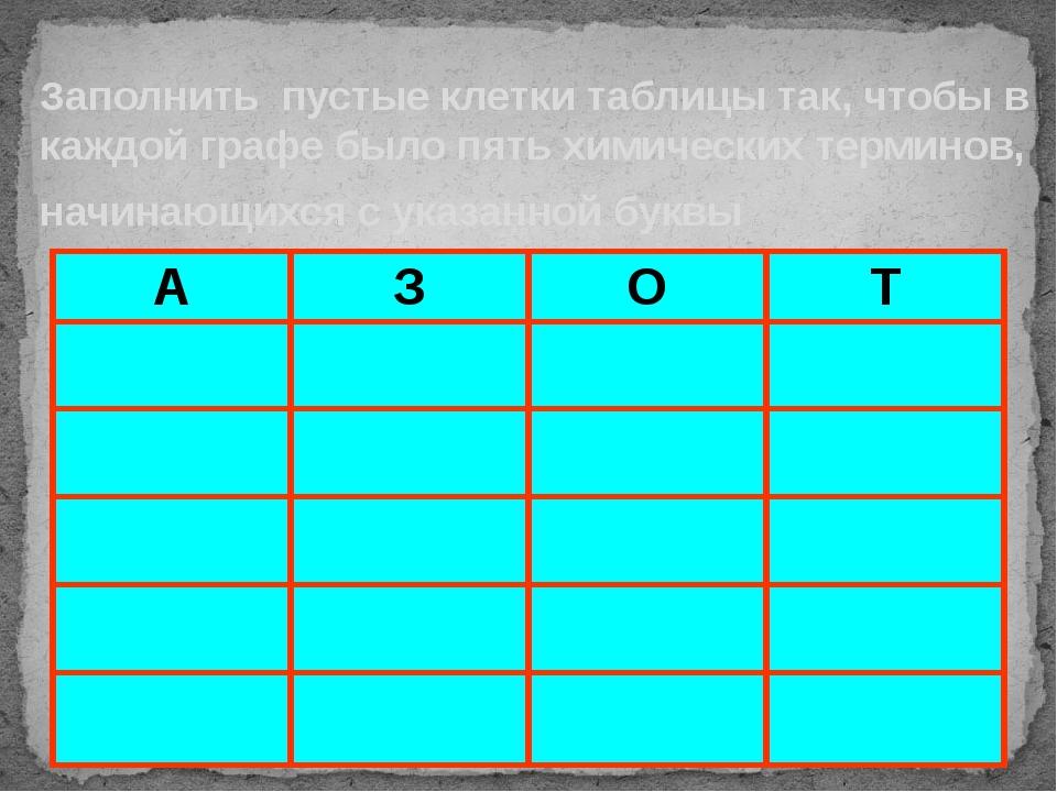 Заполнить пустые клетки таблицы так, чтобы в каждой графе было пять химически...