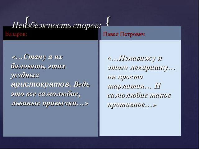 Базаров: «…Стану я их баловать, этих уездных аристократов. Ведь это все самол...