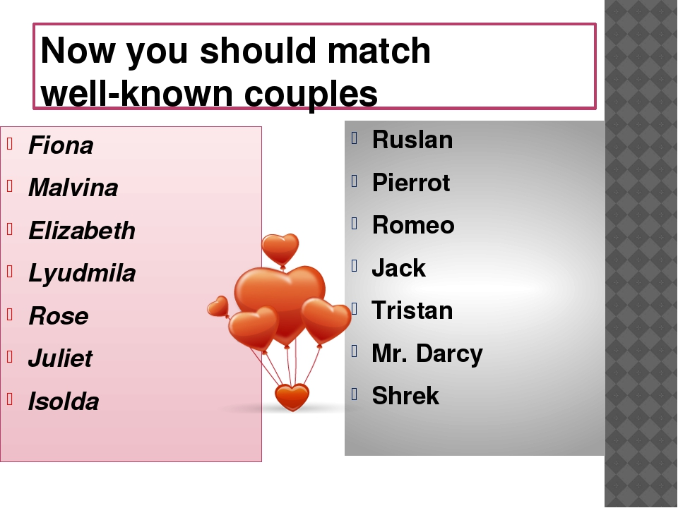 Now you should match well-known couples Fiona Malvina Elizabeth Lyudmila Rose...