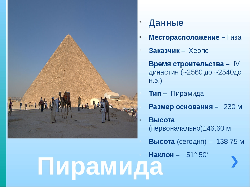 Пирамида Хеопса Данные Месторасположение – Гиза Заказчик – Хеопс Время строит...