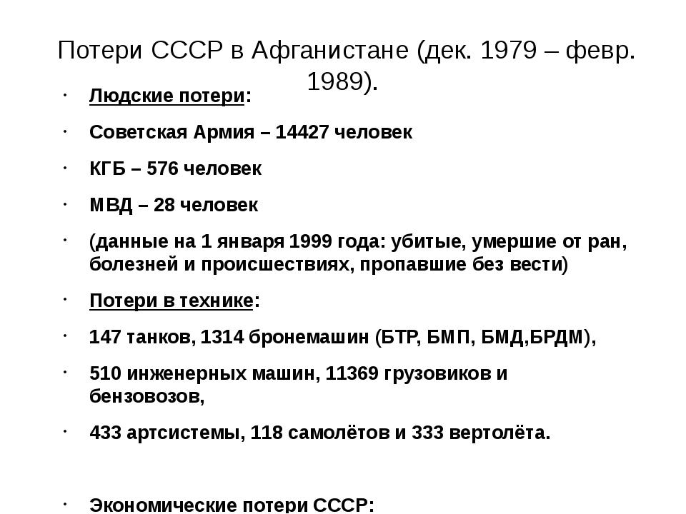 Потери СССР в Афганистане (дек. 1979 – февр. 1989). Людские потери: Советска...