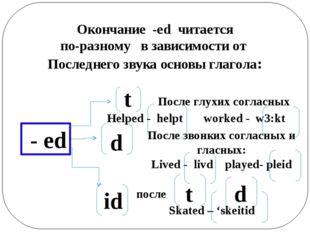 Окончание -ed читается по-разному в зависимости от Последнего звука основы гл