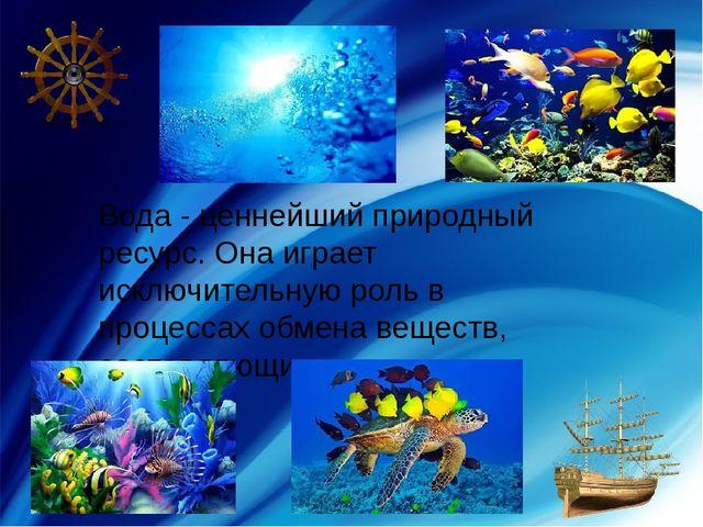 Вода - ценнейший природный ресурс. Она играет исключительную роль в процессах...