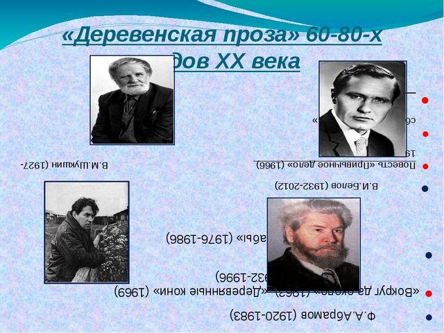 «Деревенская проза» 60-80-х годов XX века В.И.Белов (1932-2012) Повесть «Прив...