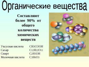 Составляют более 90% от общего количества химических веществ Уксусная кислота