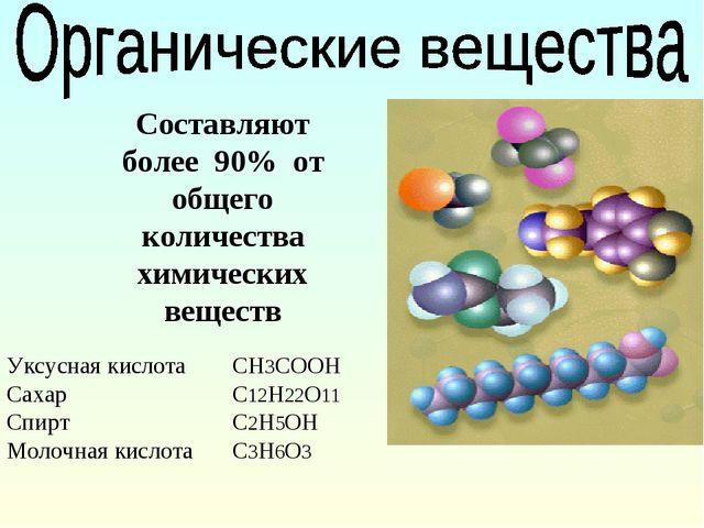 Составляют более 90% от общего количества химических веществ Уксусная кислота...
