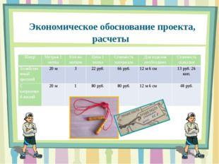 Экономическое обоснование проекта, расчеты Шнур Метраж 1 мотка Кол-во мотков