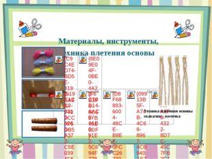 Материалы, инструменты, техника плетения основы Техника плетения основы ска