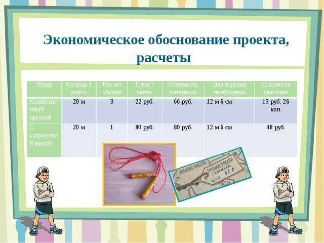Экономическое обоснование проекта, расчеты Шнур Метраж 1 мотка Кол-во мотков...