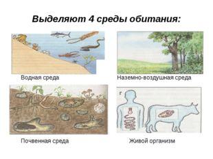 Выделяют 4 среды обитания: Водная среда Наземно-воздушная среда Почвенная сре