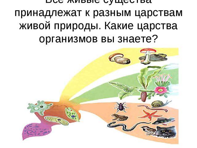 Все живые существа принадлежат к разным царствам живой природы. Какие царства...