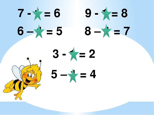 7 - 1 = 6 6 – 1 = 5 9 - 1 = 8 8 – 1 = 7 3 - 1 = 2 5 – 1 = 4