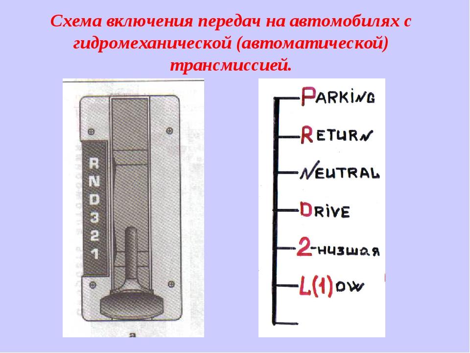 Схема включения передач на автомобилях с гидромеханической (автоматической) т...