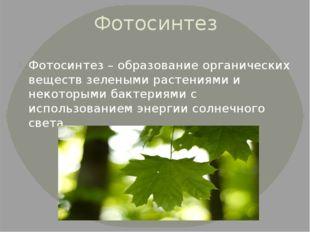 Фотосинтез Фотосинтез – образование органических веществ зелеными растениями