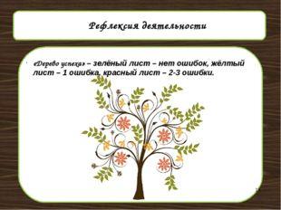 Рефлексия деятельности «Дерево успеха» – зелёный лист – нет ошибок, жёлтый л